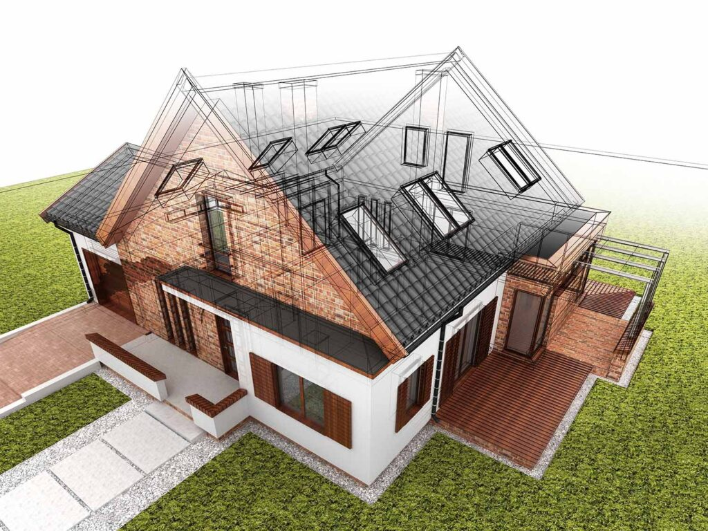 Classic,House,Design,Progress,,Architectural,Drawing,And,Visualization